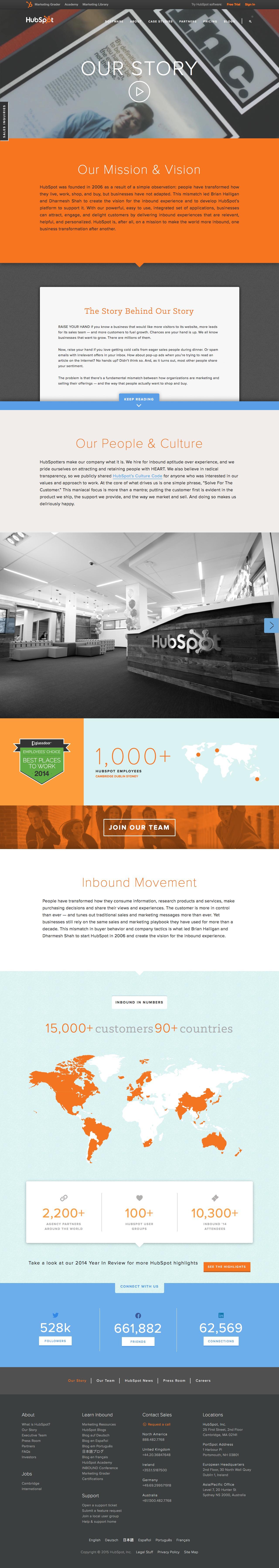 Screenshot of hubspot.com - About HubSpot - Internet Marketing Company - captured Nov. 2, 2015