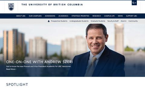 Screenshot of Home Page ubc.ca - The University of British Columbia - captured Sept. 17, 2017