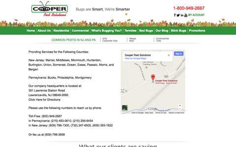 Screenshot of Contact Page cooperpest.com - Pest Control NJ   Pest Control PA - captured Oct. 3, 2014