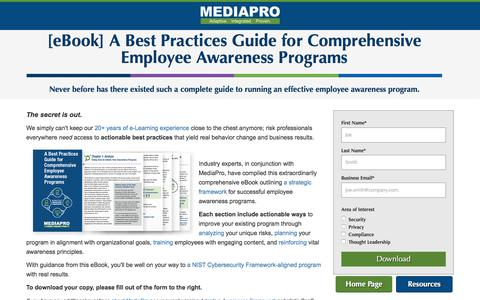 Screenshot of Landing Page mediapro.com - Free eBook Best Practices Guide for Comprehensive Employee Awareness Programs - captured Feb. 19, 2018