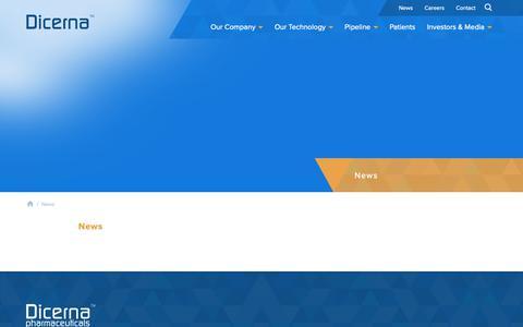 Screenshot of Press Page dicerna.com - News   Dicerna™ Pharmaceuticals - captured May 6, 2019