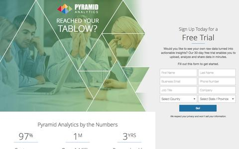 Screenshot of Landing Page pyramidanalytics.com - Pyramid Analytics - captured Feb. 10, 2017