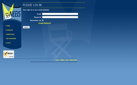 Screenshot of Login Page neeis.com - New Empire - Agent Login - captured Oct. 26, 2014