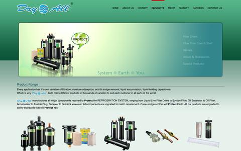 Screenshot of Products Page dryall.net - Dry All - Product Range - captured Oct. 3, 2014