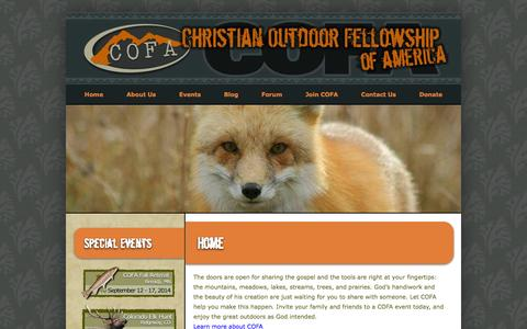 Screenshot of Home Page cofausa.org - Christian Outdoor Fellowship of America - captured Oct. 2, 2014