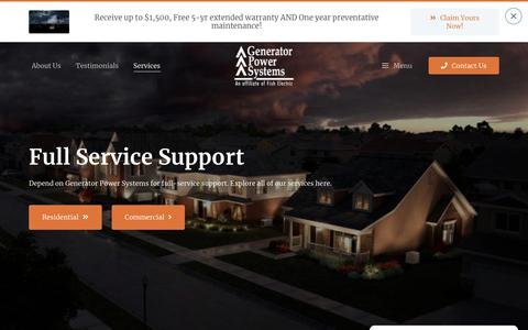 Screenshot of Services Page standbypowerhouston.com - Services - captured Sept. 27, 2018