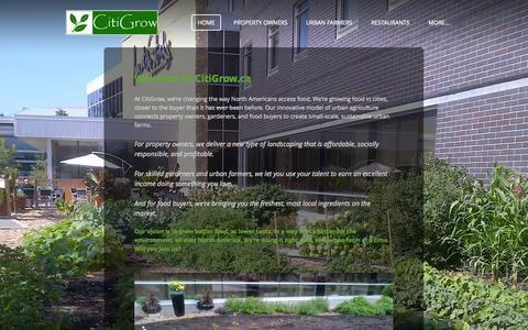 Screenshot of Home Page citigrow.ca - CitiGrow - Home - captured Sept. 29, 2014