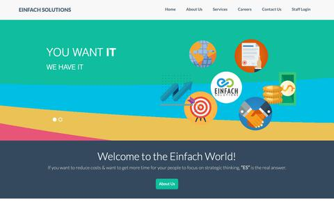 Screenshot of Home Page einfachltd.com - Einfach Soultions | Mortgage Services, Title & Settlement, Vendor Management - captured Sept. 27, 2018