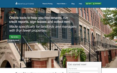 Screenshot of Home Page rentalutions.com - Rent Collection, Tenant Screening, Leasing |  Landlord Software | Rentalutions - captured Sept. 17, 2014