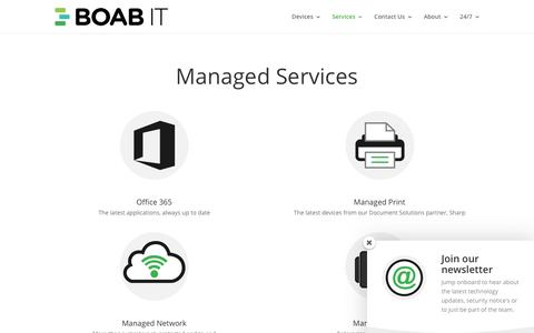 Screenshot of Services Page boabit.com - Managed Services - BOAB IT - captured Nov. 22, 2016