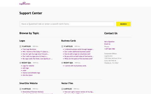 Screenshot of Support Page logogarden.com - LogoGarden |        Portal - captured July 3, 2016