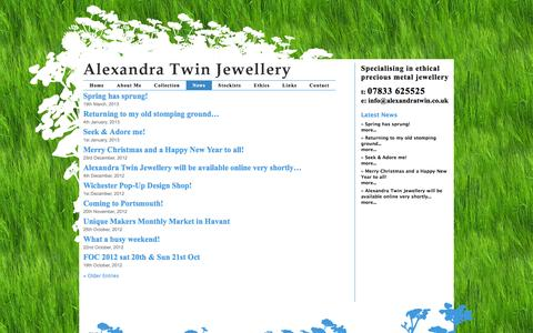 Screenshot of Press Page alexandratwin.co.uk - News «  Alexandra Twin Jewellery - captured Oct. 4, 2014