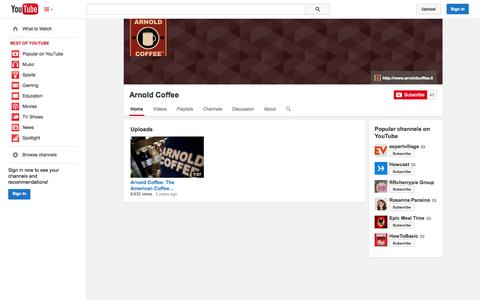 Screenshot of YouTube Page youtube.com - Arnold Coffee  - YouTube - captured Oct. 23, 2014