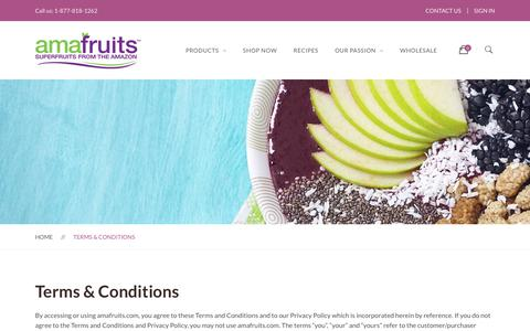 Screenshot of Terms Page amafruits.com - Terms & Conditions | Amafruits - captured July 29, 2018