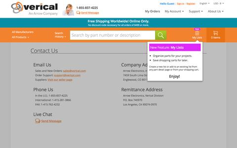 Screenshot of Contact Page verical.com - Verical Support Center - Contact Us | Verical - captured May 9, 2017