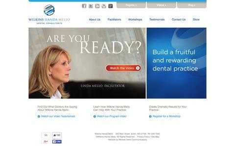 Screenshot of Home Page wilkinshandamello.com - Wilkins Handa Mello Dental Consultants | Dental Practice Management, Dental Consulting, Dental Marketing - captured Feb. 23, 2016