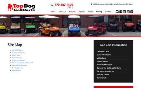 Screenshot of Site Map Page topdoggolfcarts.com - Top Dog Golf Carts | Site Map - captured Oct. 7, 2018