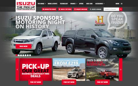 Screenshot of Home Page isuzu.co.uk - Isuzu UK: View Our Range of D-Max Pick-ups - captured Sept. 3, 2015
