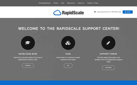 Screenshot of Support Page rapidscale.net - Home - RapidScale Support - captured Jan. 12, 2016