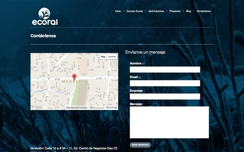 Screenshot of Contact Page ecoral.co - Ecoral | Contáctenos - captured Sept. 29, 2014