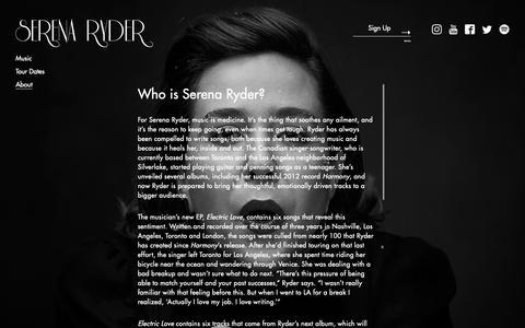 Screenshot of About Page serenaryder.com - Serena Ryder - Christmas Kisses Available October 18 - captured Nov. 7, 2018