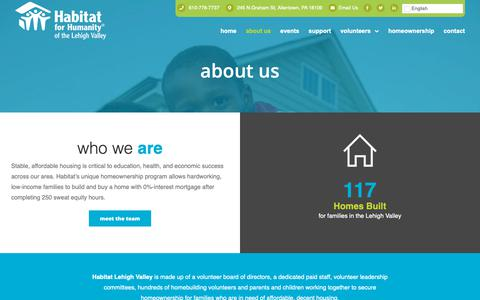 Screenshot of About Page habitatlv.org - About Us - Habitat for Humanity Lehigh Valley - captured Oct. 25, 2018