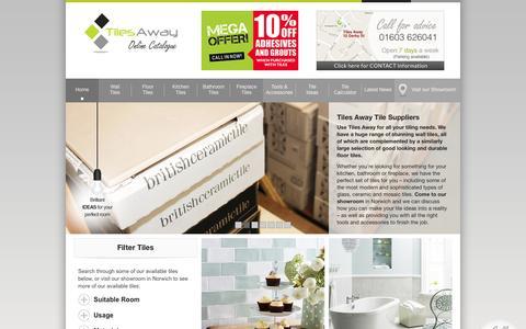 Screenshot of Home Page tilesaway.co.uk - Tiles Away, Tile Supplier Norwich, Tile Showroom, Range of Tiles - captured Oct. 9, 2014