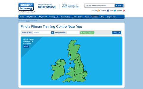 Screenshot of Locations Page pitman-training.com - Pitman Training Centre Locations | Centres across the UK and Ireland - captured Oct. 22, 2014