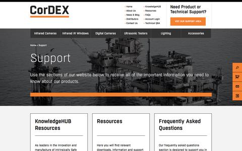 Screenshot of Support Page cord-ex.com - Support - Cordex - captured Nov. 21, 2017