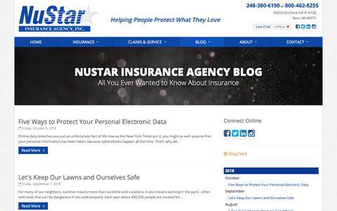 Screenshot of Blog nustarinsurance.net - Insurance Blog | NuStar Insurance Agency in Michigan - captured Oct. 19, 2018