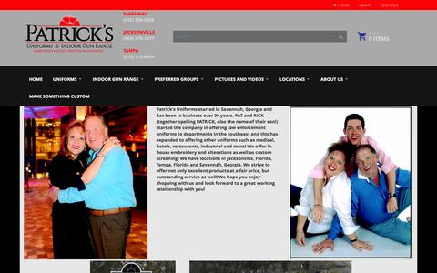Screenshot of About Page patricksuniforms.com - Patricks Uniforms and Indoor Gun Range-GA - captured Jan. 26, 2016