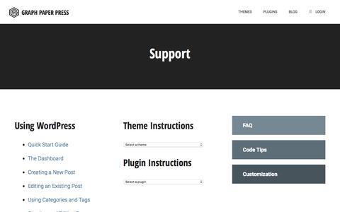 Screenshot of Support Page graphpaperpress.com - Support | Graph Paper Press - captured Nov. 6, 2019