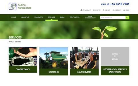 Screenshot of Services Page pacificagriscience.com - Services - captured July 11, 2017