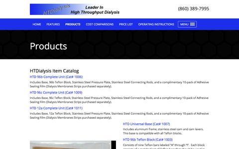 Screenshot of Products Page htdialysis.com - HTDialysis - captured July 11, 2017