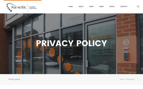 Screenshot of Privacy Page kineticpr.co.uk - Privacy policy - Kinetic - Birmingham Marketing, PR & Communications Agency - captured Nov. 27, 2016