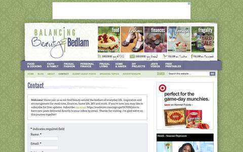 Screenshot of Contact Page beautyandbedlam.com - Contact - Balancing Beauty and Bedlam - captured Jan. 20, 2016