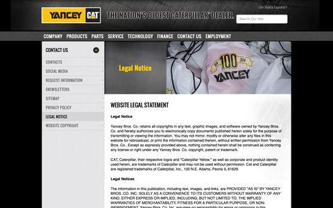 Screenshot of Terms Page yanceybros.com - Website Legal Statement | Yancey Bros - captured Oct. 1, 2018