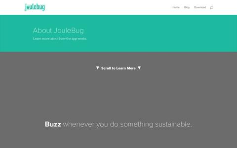 Screenshot of About Page joulebug.com - About - JouleBug - captured Jan. 9, 2016