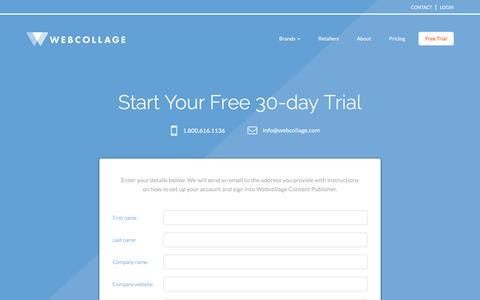 Screenshot of Trial Page webcollage.com - Free Trial - captured Jan. 19, 2016