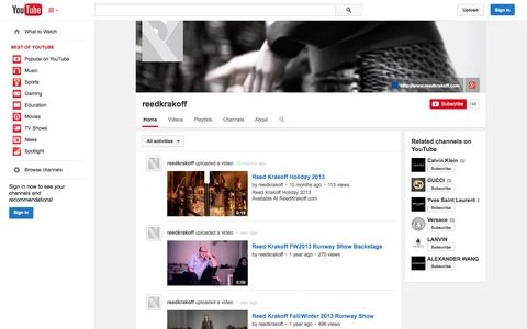 Screenshot of YouTube Page youtube.com - reedkrakoff  - YouTube - captured Oct. 26, 2014