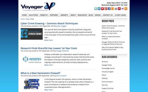 Screenshot of Blog voyager.net.uk - Blog | Voyager Networks, Technology Services - captured Oct. 6, 2014
