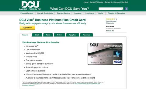 Visa Business Platinum Credit Card | DCU | MA | NH