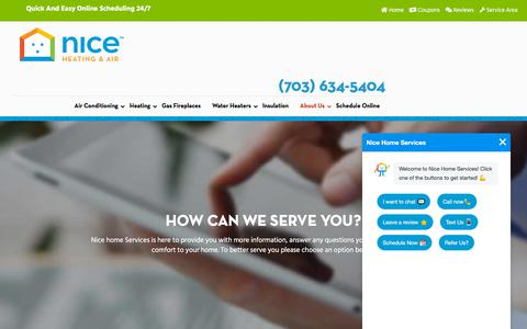Screenshot of Contact Page nicehomeservices.com - Contact Us - Nice Home Services - captured Aug. 20, 2019