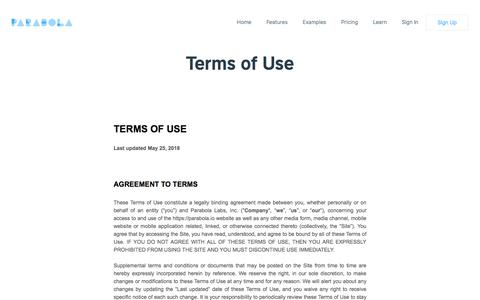 Screenshot of Terms Page parabola.io - Terms of Use - captured Oct. 26, 2019