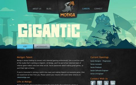 Screenshot of Jobs Page motiga.com - Motiga | Careers - captured Nov. 27, 2016