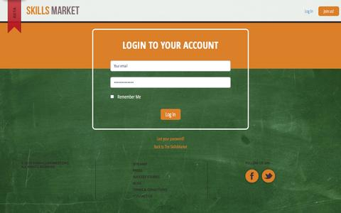 Screenshot of Login Page theskillsmarket.org - Sign In - The SkillsMarket - captured Oct. 9, 2014