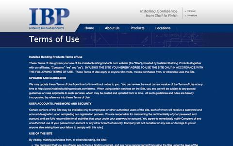 Screenshot of Terms Page installedbuildingproducts.com - Terms of Use | IBP - Installed Building Products - captured Sept. 30, 2014