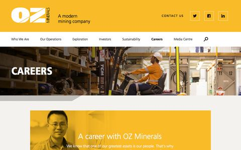 Screenshot of Jobs Page ozminerals.com - Careers | OZ Minerals - captured Sept. 21, 2018