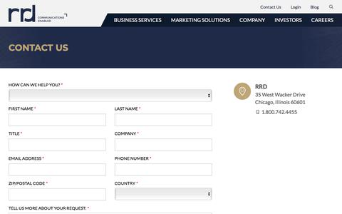 Screenshot of Contact Page rrd.com - Contact RR Donnelley - captured Sept. 4, 2019