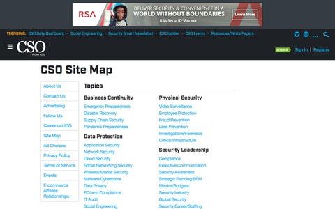 Screenshot of Site Map Page csoonline.com - Sitemap - captured May 13, 2017